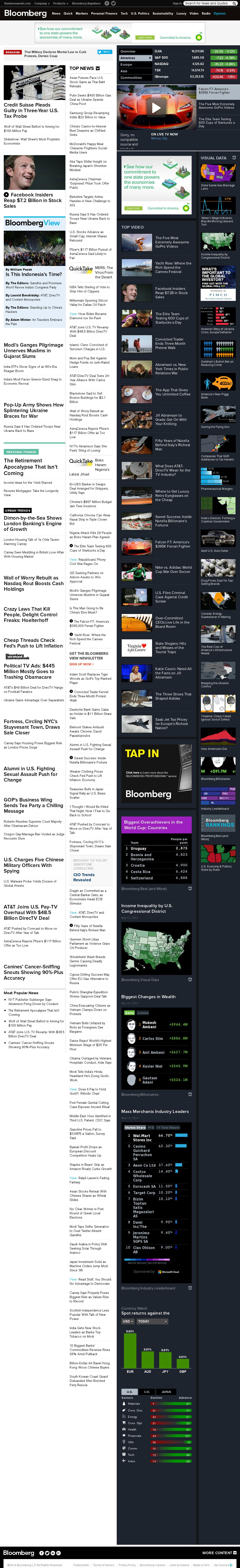 Bloomberg at Tuesday May 20, 2014, midnight UTC