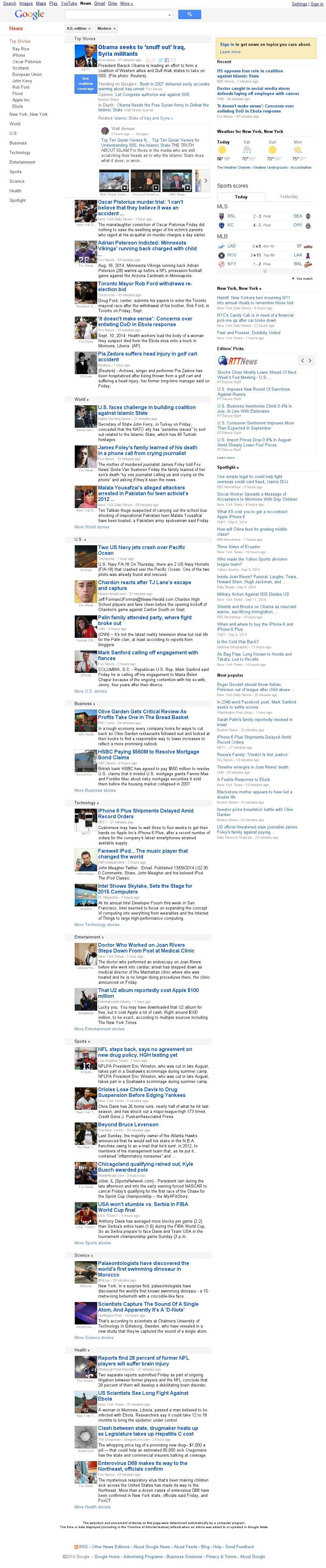 Google News at Saturday Sept. 13, 2014, 5:06 a.m. UTC