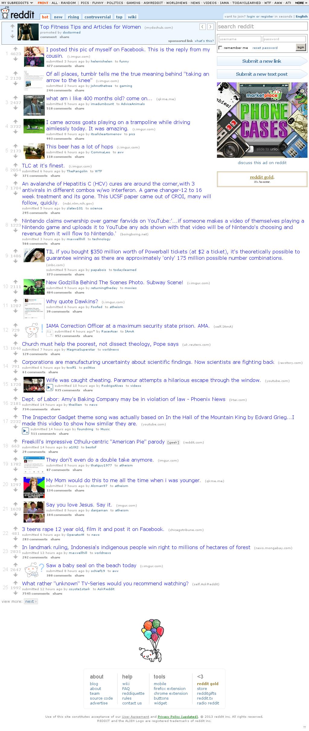Reddit at Sunday May 19, 2013, 8:17 a.m. UTC