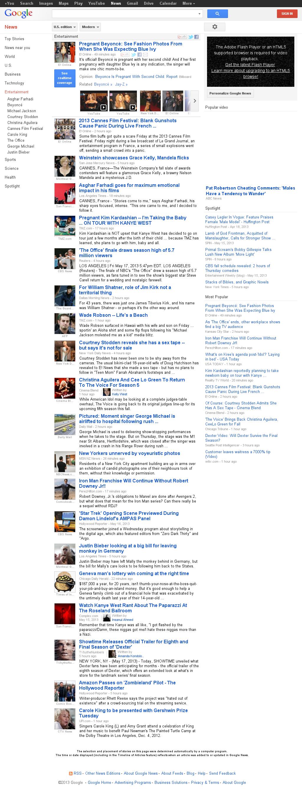 Google News: Entertainment at Saturday May 18, 2013, 1:09 a.m. UTC