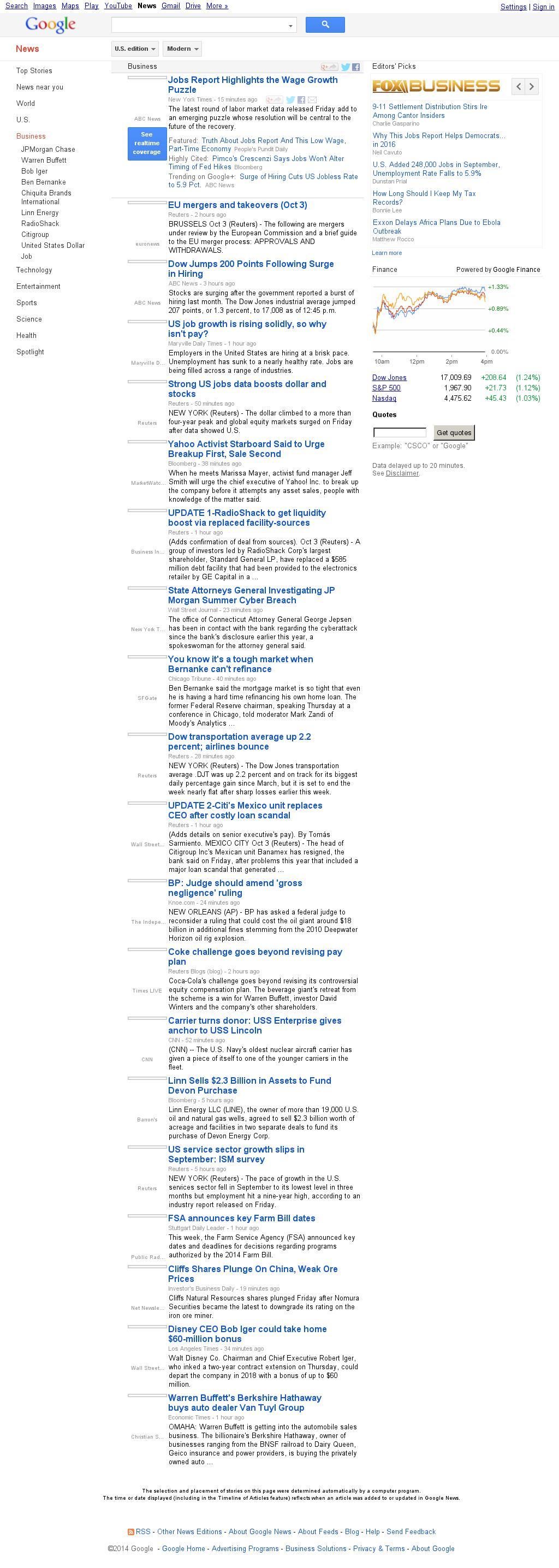 Google News: Business at Friday Oct. 3, 2014, 8:07 p.m. UTC