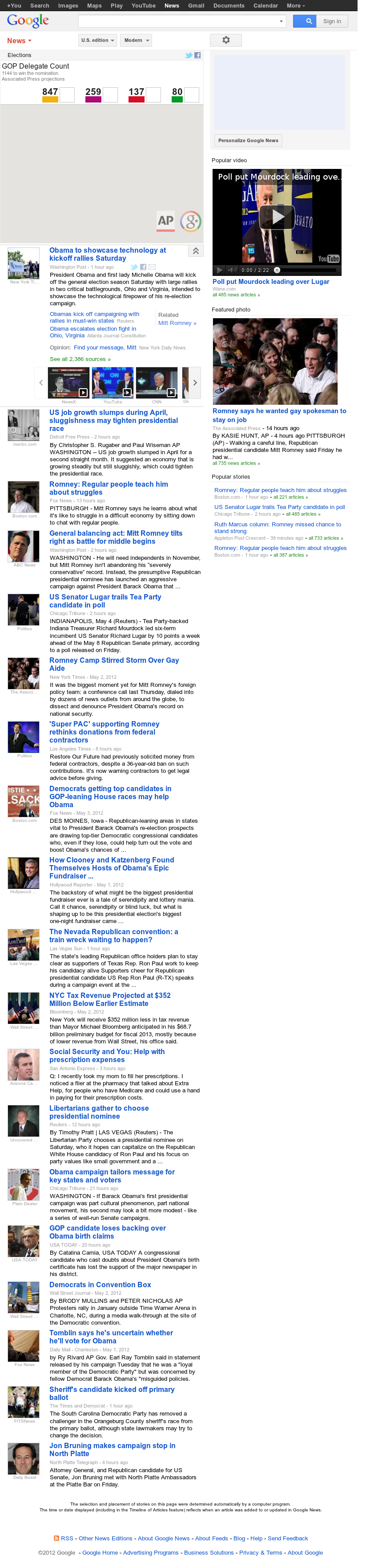 Google News: Elections at Saturday May 5, 2012, 10:06 a.m. UTC