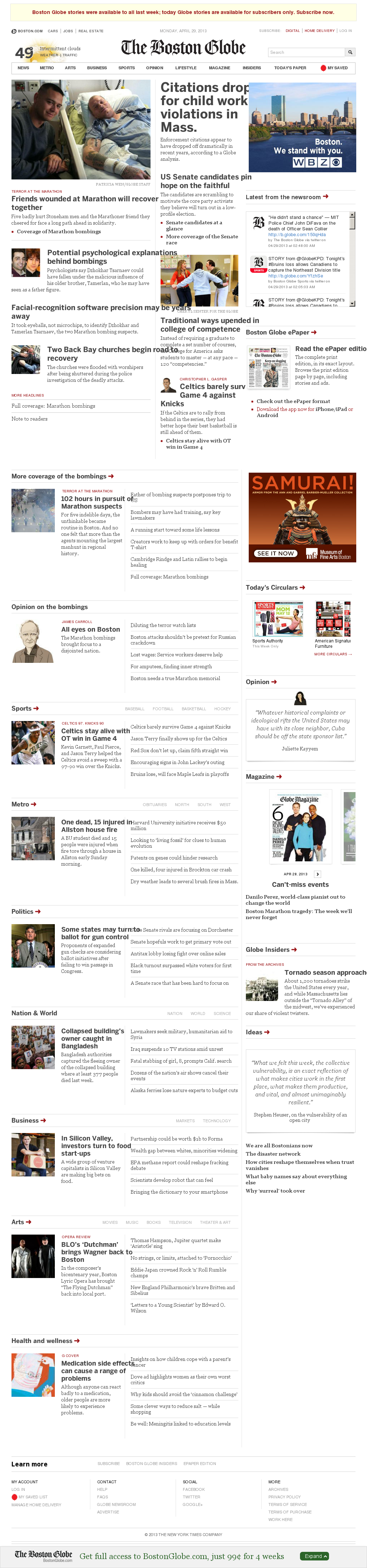 The Boston Globe at Monday April 29, 2013, 11:02 a.m. UTC