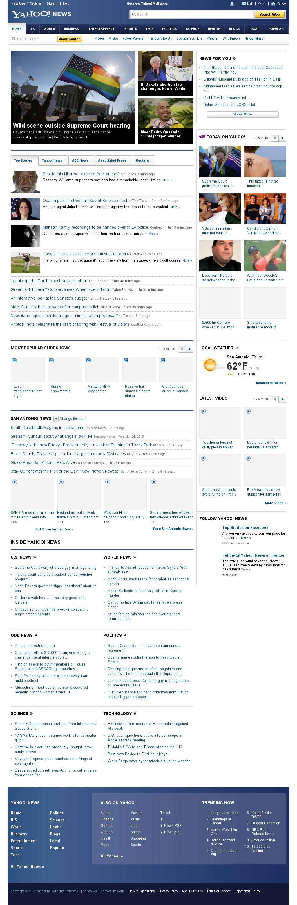 Yahoo! News at Tuesday March 26, 2013, 8:51 p.m. UTC