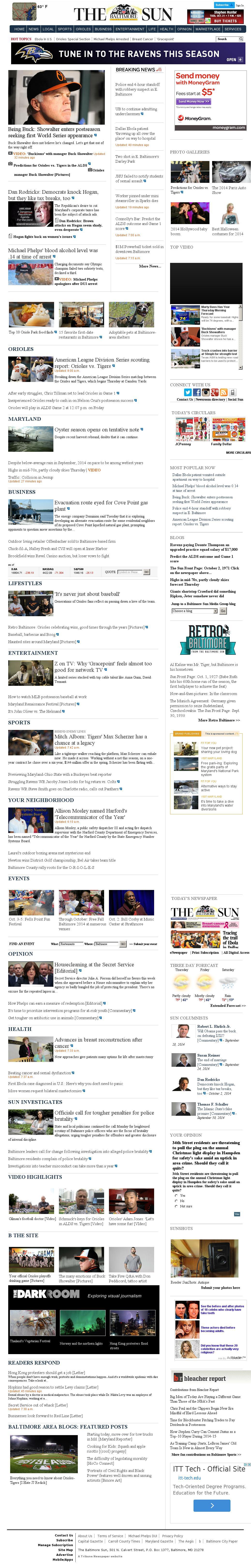 The Baltimore Sun at Thursday Oct. 2, 2014, 1 p.m. UTC