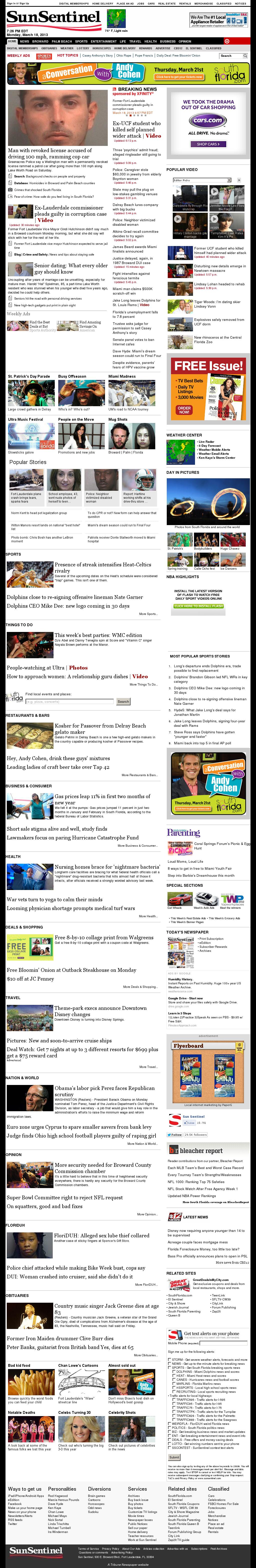 (Florida) Sun Sentinel at Monday March 18, 2013, 11:27 p.m. UTC