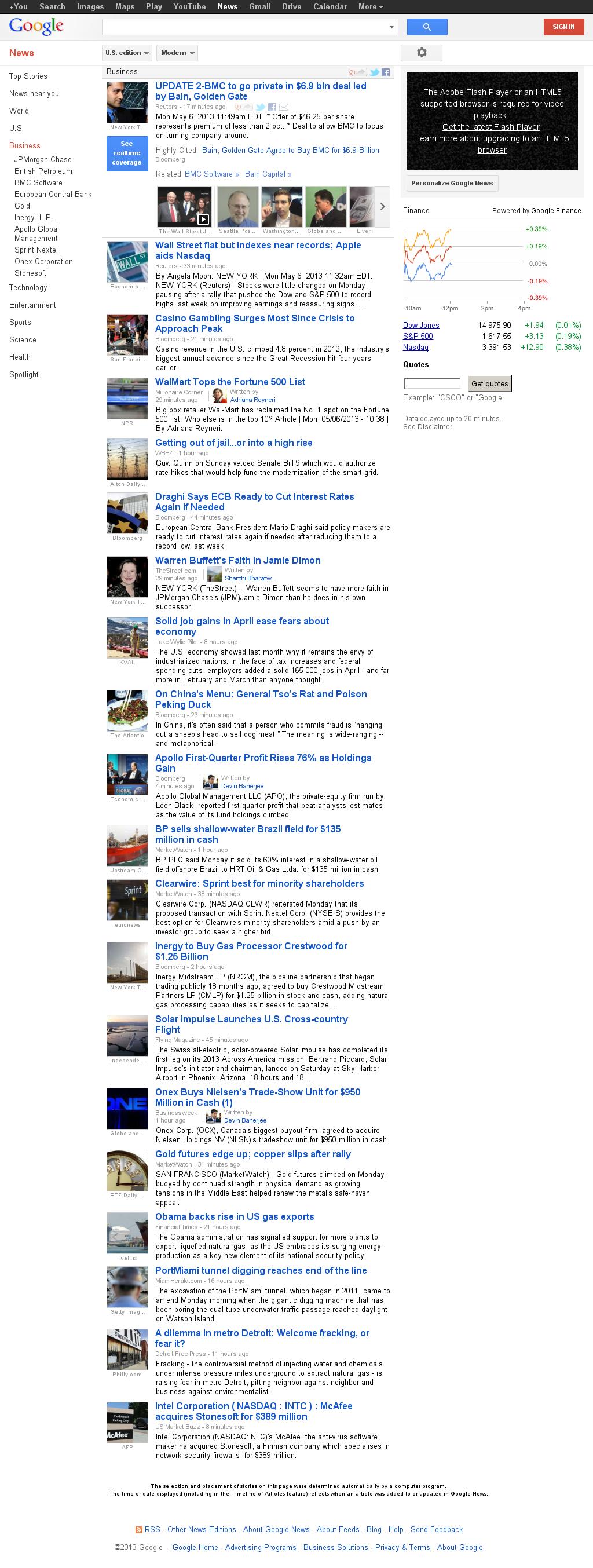 Google News: Business at Monday May 6, 2013, 4:10 p.m. UTC