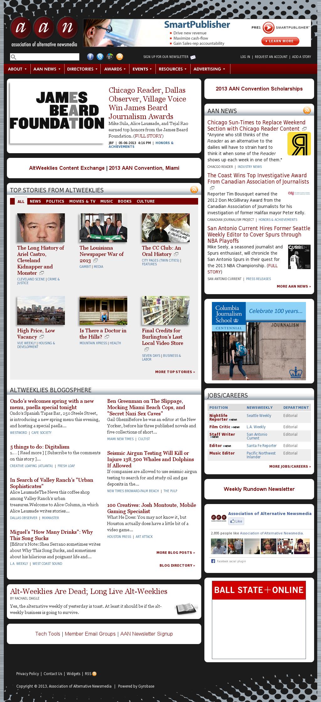 Association of Alternative Newsmedia at Wednesday May 8, 2013, 1:01 p.m. UTC