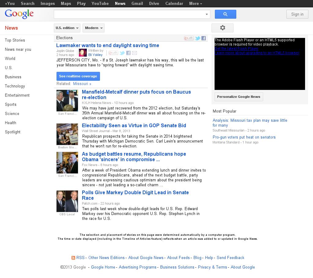 Google News: Elections at Monday March 11, 2013, 8:07 a.m. UTC