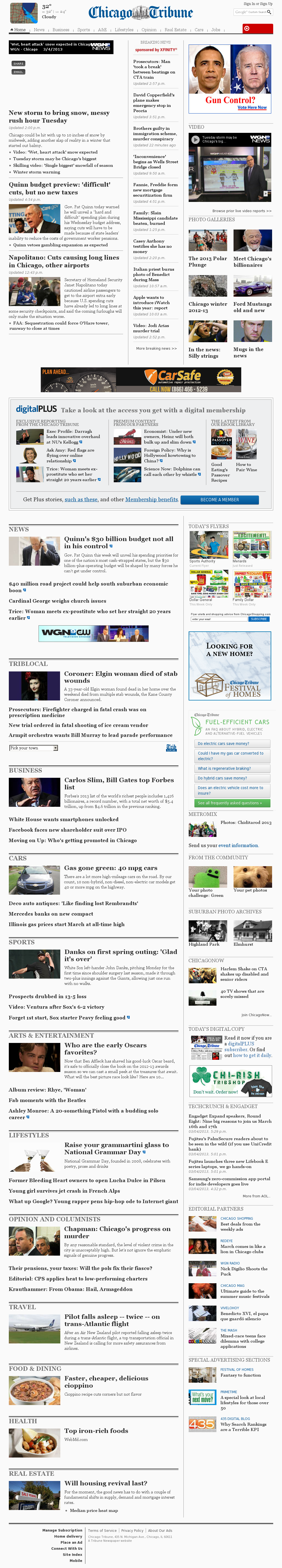 Chicago Tribune at Tuesday March 5, 2013, 12:03 a.m. UTC