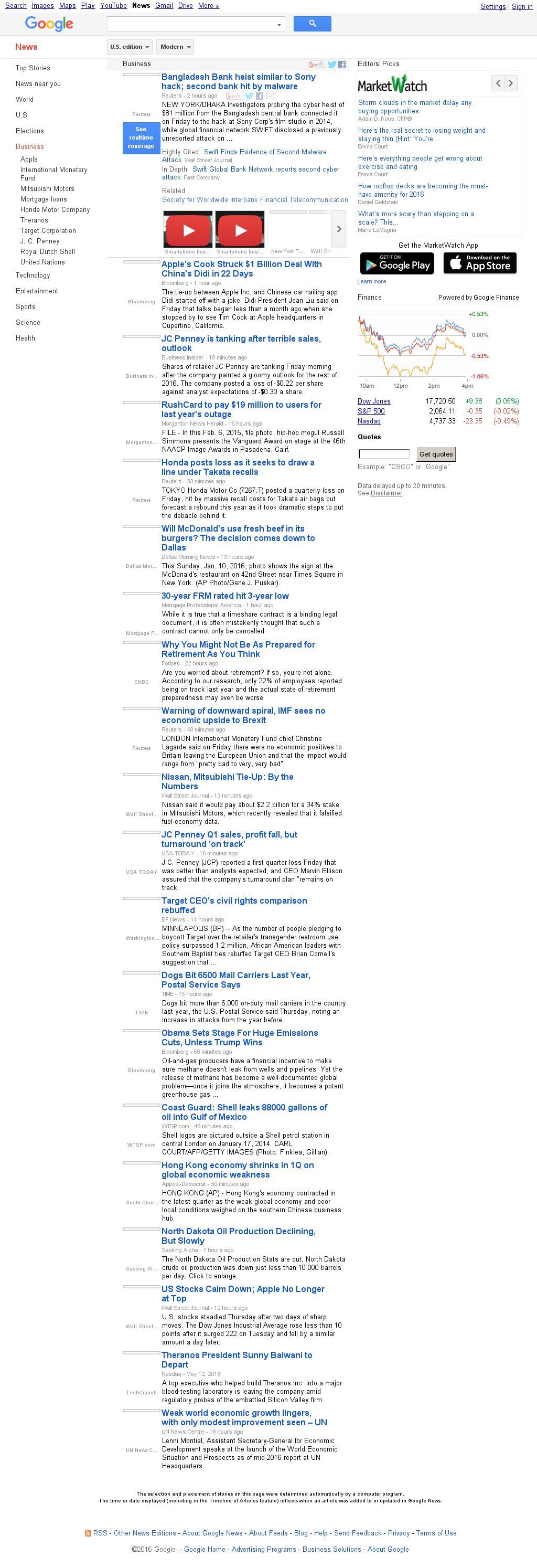 Google News: Business at Friday May 13, 2016, 12:07 p.m. UTC