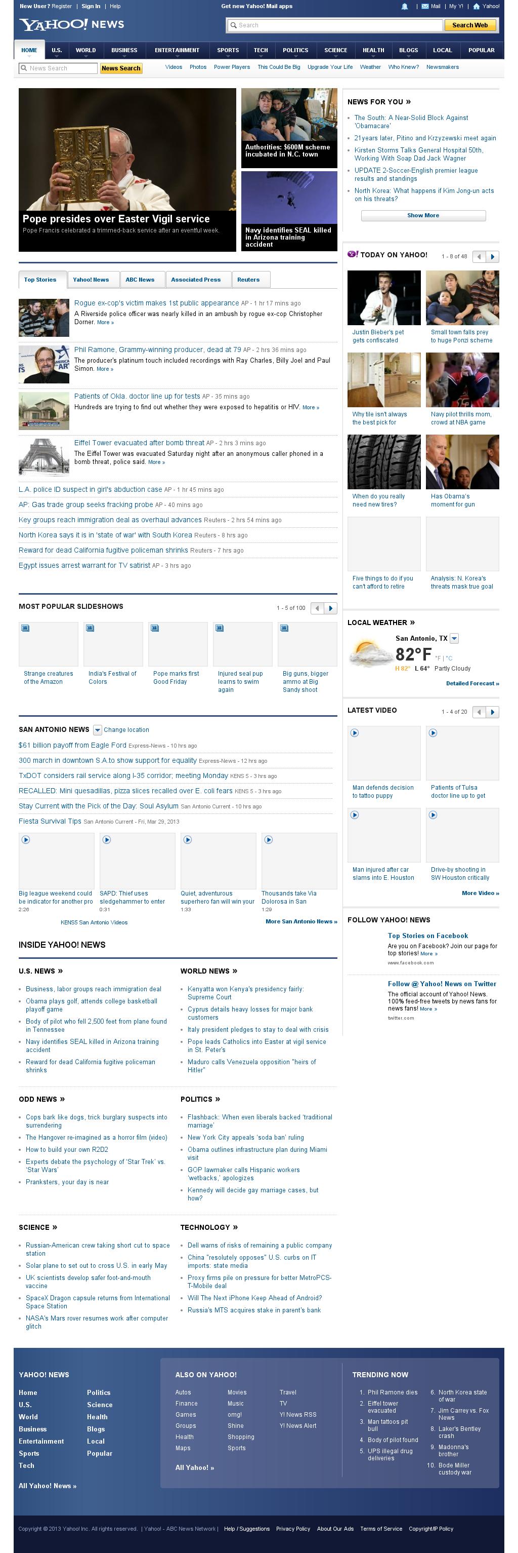 Yahoo! News at Sunday March 31, 2013, 12:26 a.m. UTC