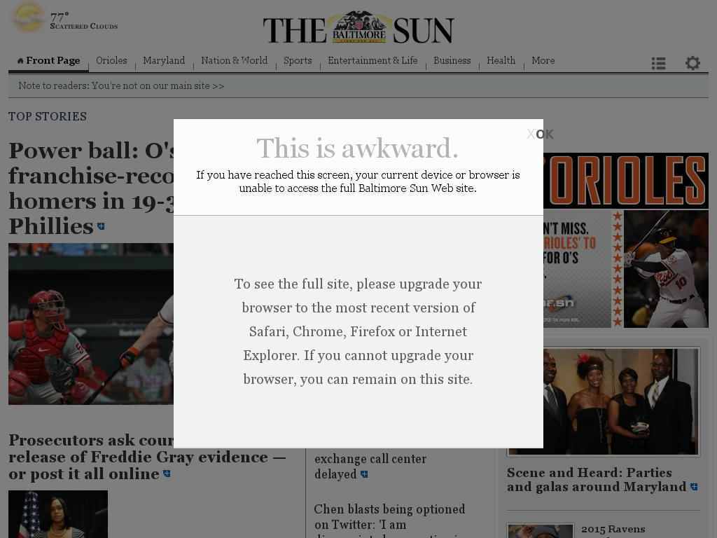 The Baltimore Sun at Wednesday June 17, 2015, 9 a.m. UTC