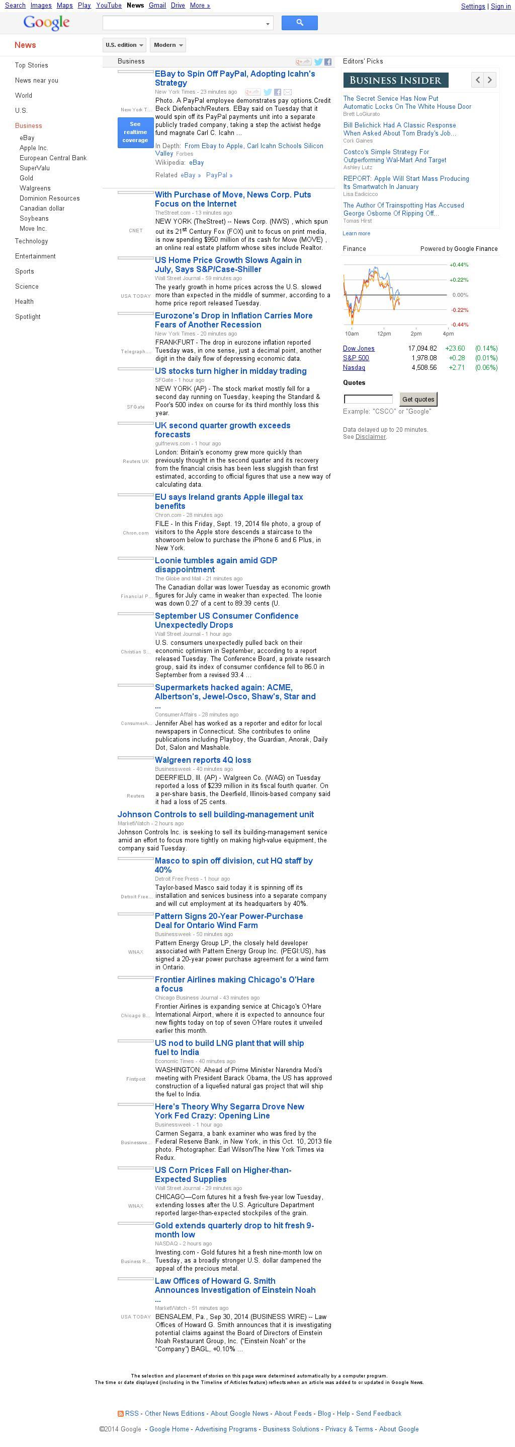 Google News: Business at Tuesday Sept. 30, 2014, 5:06 p.m. UTC