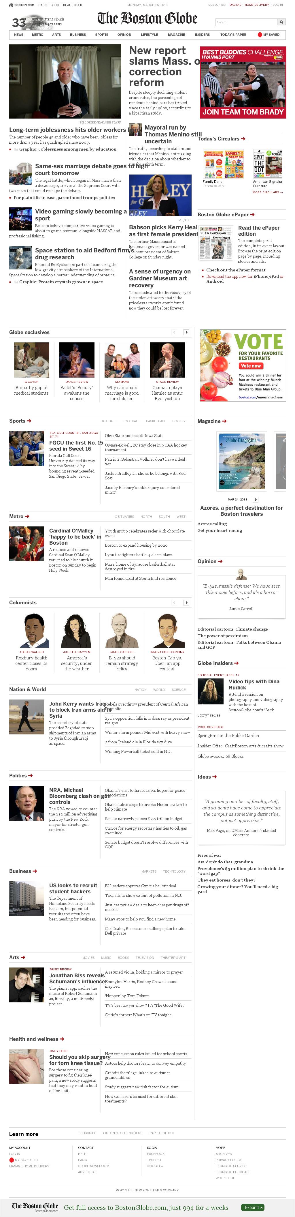 The Boston Globe at Monday March 25, 2013, 11:04 a.m. UTC