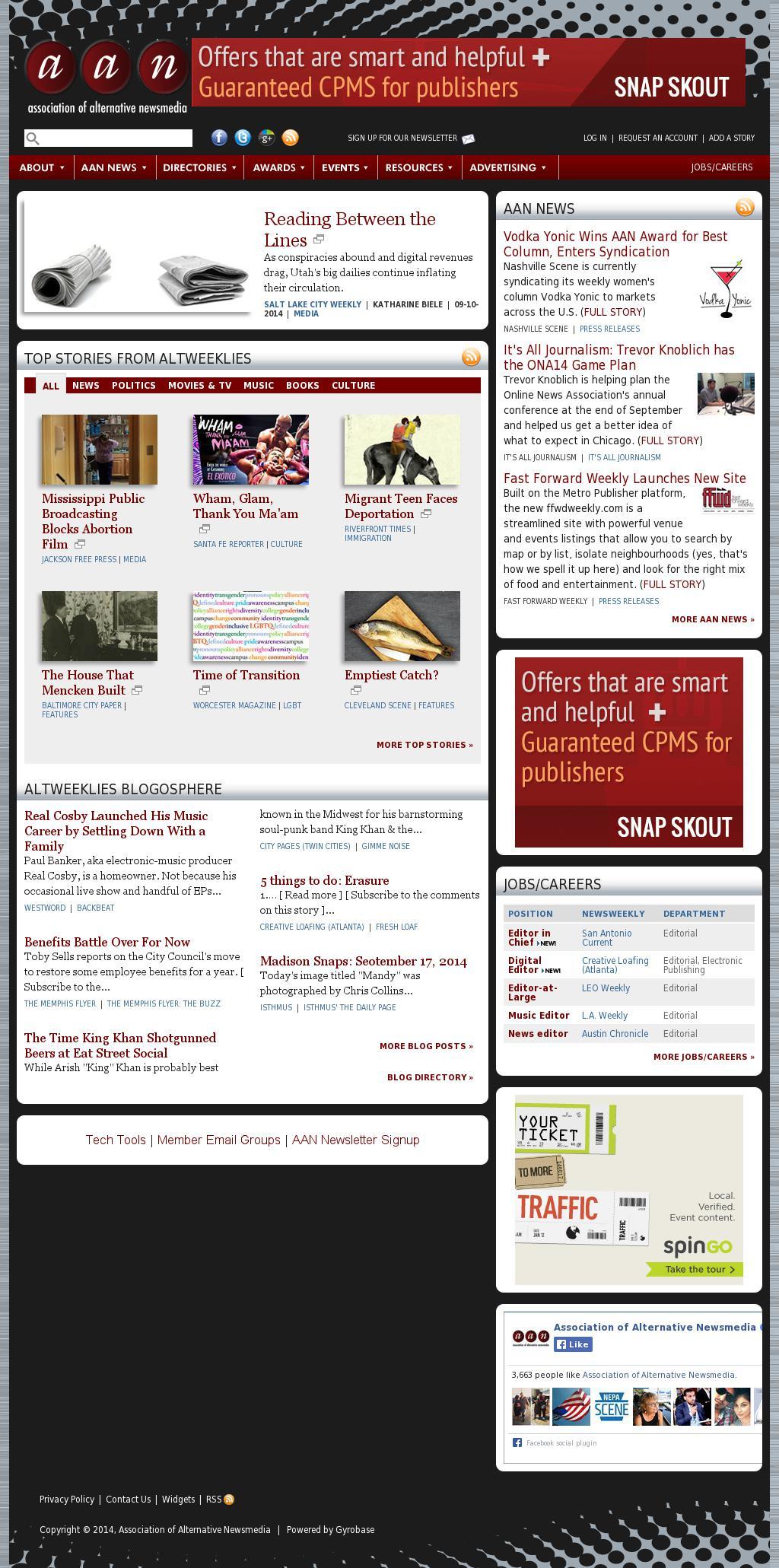 Association of Alternative Newsmedia at Wednesday Sept. 17, 2014, 1 p.m. UTC