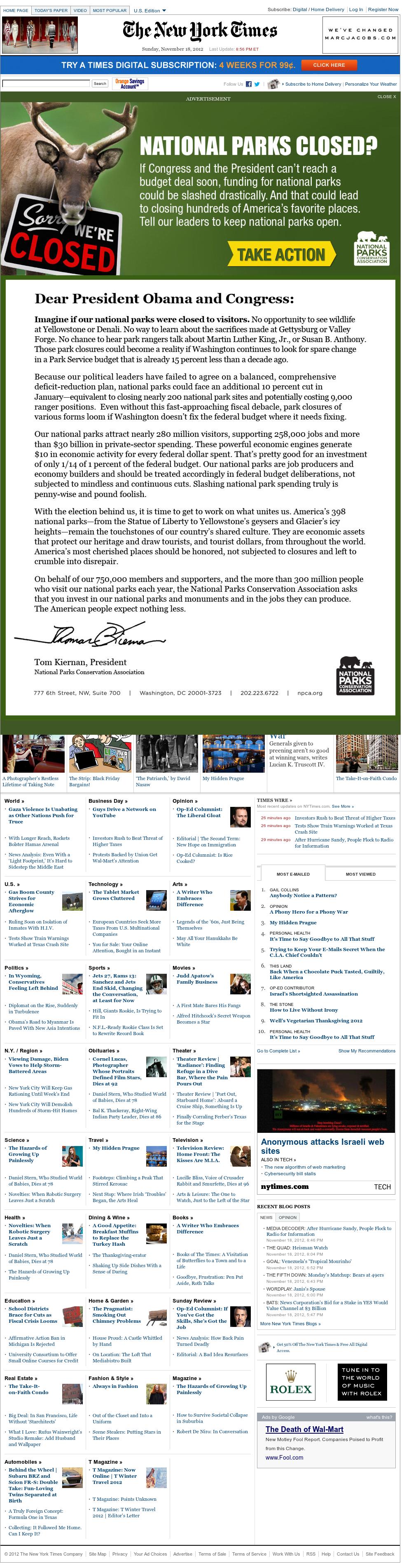 The New York Times at Monday Nov. 19, 2012, 2:21 a.m. UTC