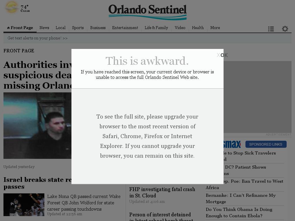 Orlando Sentinel at Saturday Oct. 4, 2014, 9:13 a.m. UTC