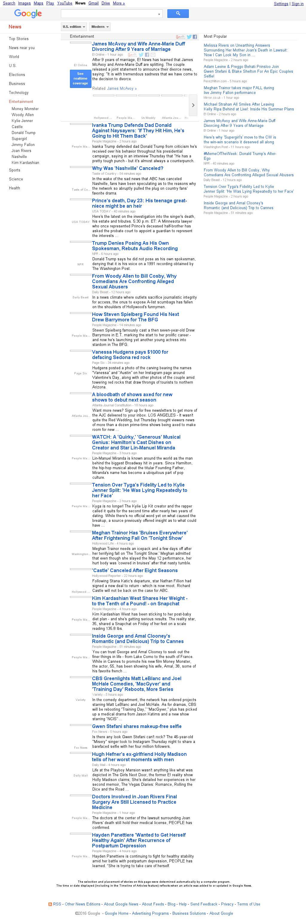Google News: Entertainment at Friday May 13, 2016, 11:07 p.m. UTC