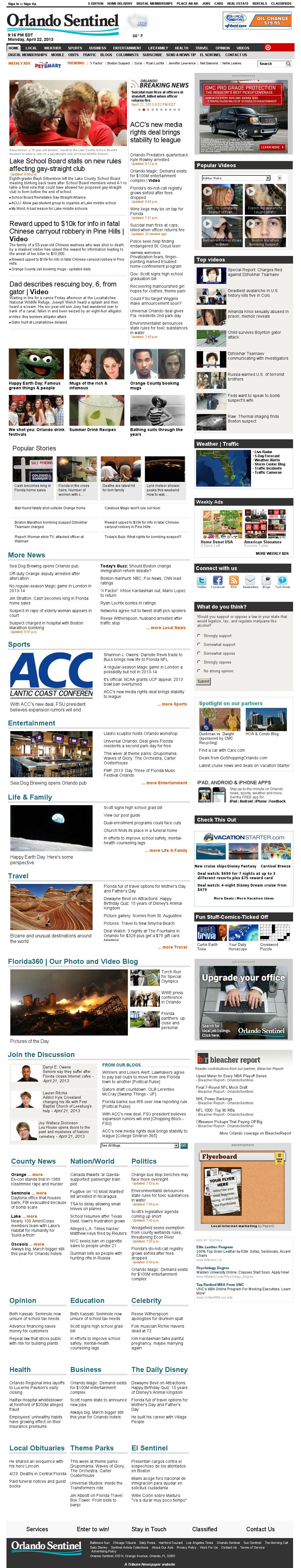 Orlando Sentinel at Tuesday April 23, 2013, 1:17 a.m. UTC