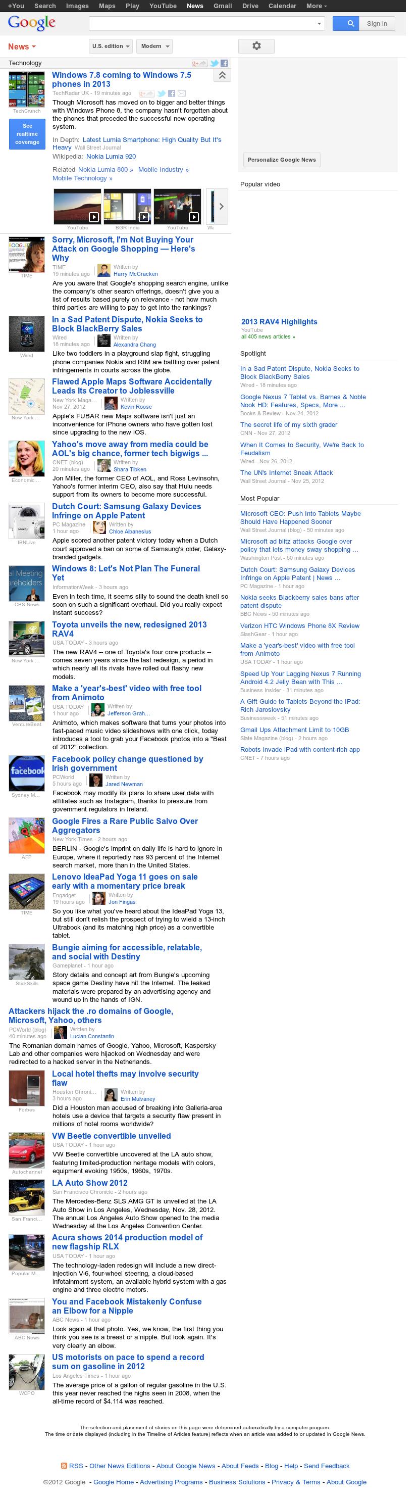 Google News: Technology at Wednesday Nov. 28, 2012, 10:12 p.m. UTC