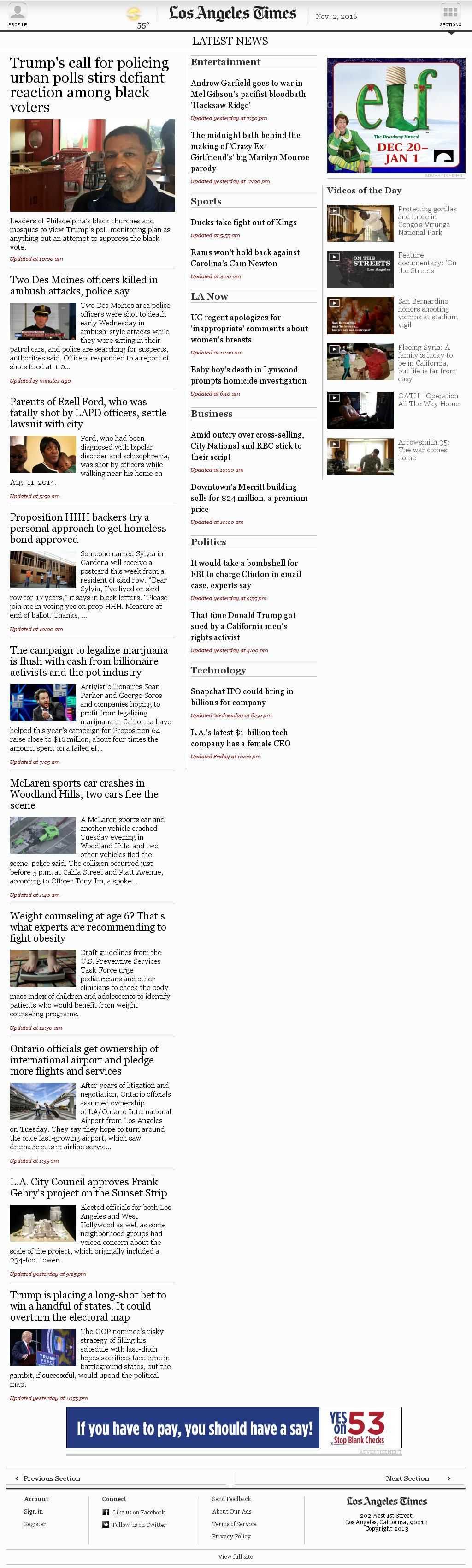 Los Angeles Times at Wednesday Nov. 2, 2016, 12:08 p.m. UTC